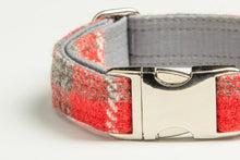 Load image into Gallery viewer, Collared Creatures Red And Grey Check Harris Tweed Luxury Dog Collar (Optional Matching Accessories, Engraving)