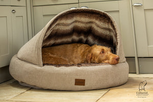 Collared Creatures Beige Luxury Deluxe Comfort Cocoon Dog Cave Bed