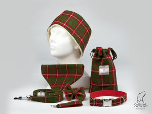 Collared Creatures Christmas Check Harris Tweed Dog Collar (Optional Matching Accessories, Engraving)