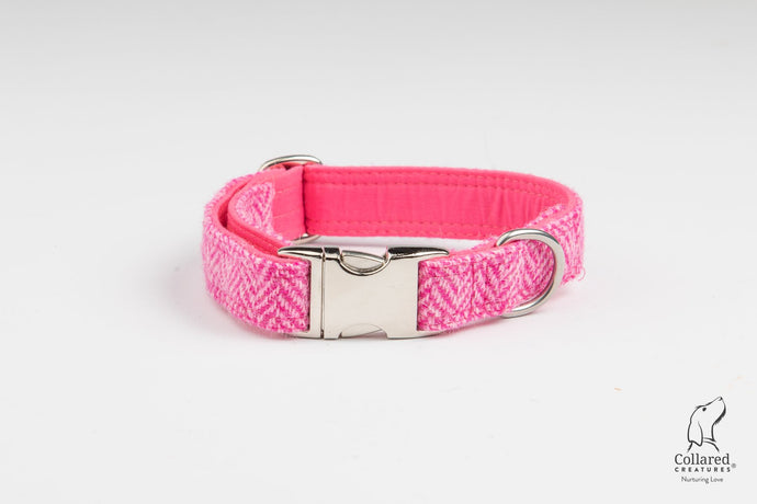 Collared Creatures Pink Herringbone Harris Tweed Dog Collar (Optional Matching Accessories, Engraving)