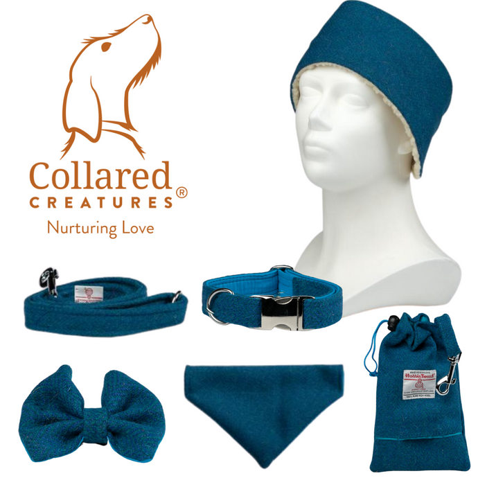 Collared Creatures Teal Herringbone Harris Tweed Dog Collar (Optional Matching Accessories, Engraving)