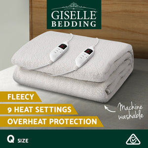 Giselle Bedding 9 Setting Fully Fitted Electric Blanket - Queen