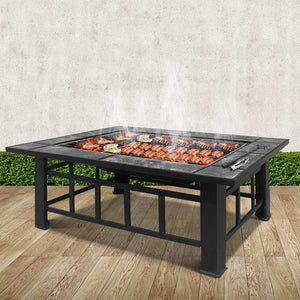 Grillz Outdoor Fire Pit BBQ Table Grill Fireplace