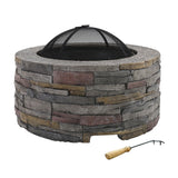 Grillz Fire Pit Outdoor Table Charcoal Fireplace Garden Firepit Heater
