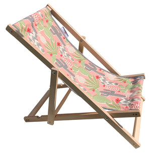Childrens cactus deck chair with wooden frame outdoor fabric