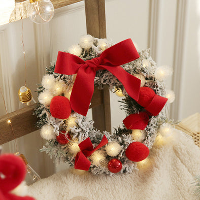 Christmas Wreath & String Lights-11''