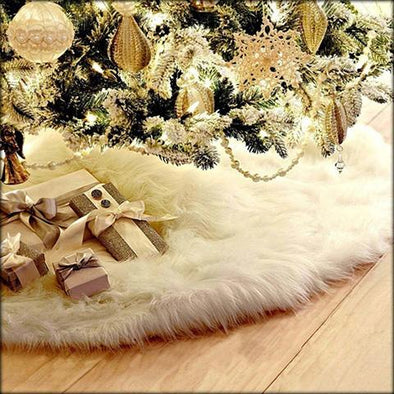 Christmas Tree Skirt, Pure White Plush, Christmas Decorations
