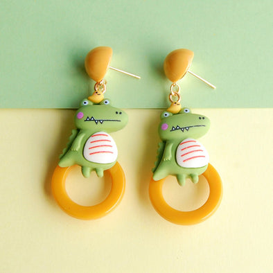 New Cute Crocodile Niche Earrings Ear Clips