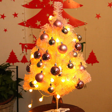 Artificial Mini Christmas Pine Tree with LED String Lights & Ornaments