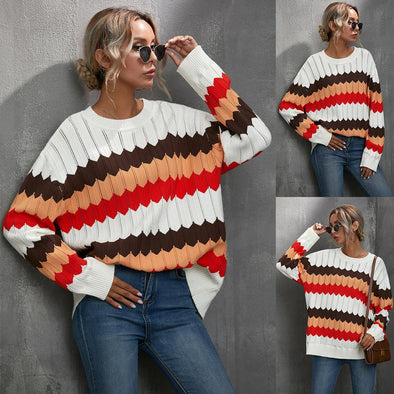Casual Striped Contrast Sweater