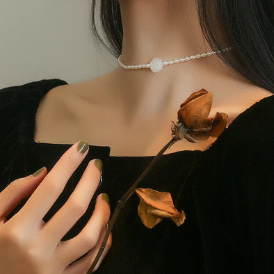 Sterling Silver Shell White Rose Natural Pearl Necklace Choker