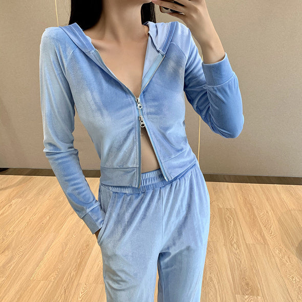 Zipper Sweatshirt + Long Pants Active Tracksuit Set