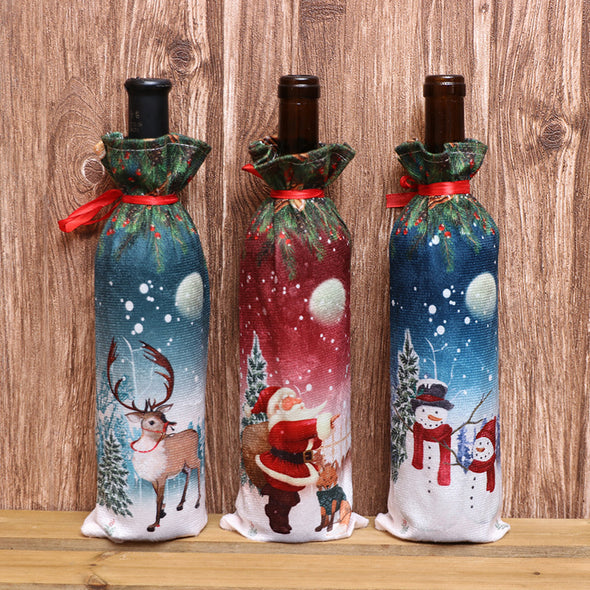 Christmas Wine Bottle Cover, Christmas Party Decoration