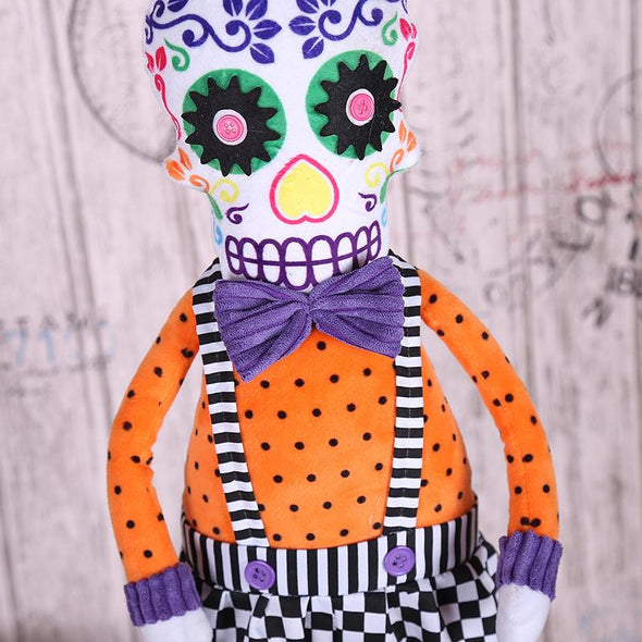 Halloween Skeleton Sitting Posture Doll Ornaments Retractable Skull