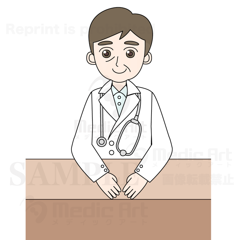 A doctor sitting in front of a desk