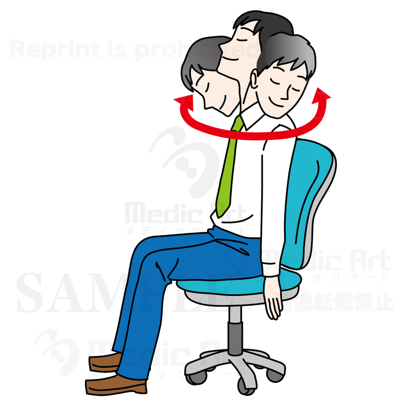 Easy exercise at the office1(stretch in your chair:turning the neck right and left)