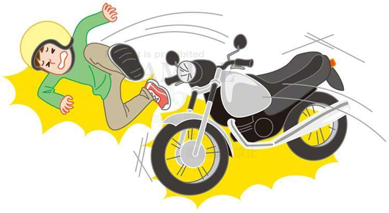Falling accident of a young man riding a motor bicycle