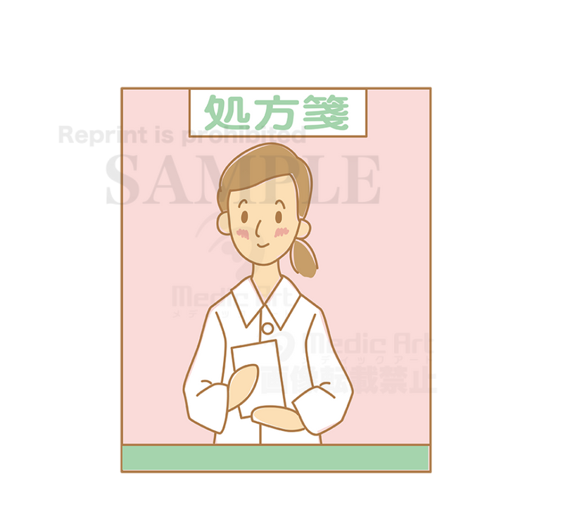 I talk with a pharmacist− Scene that a pharmacist are explaining about medicines.