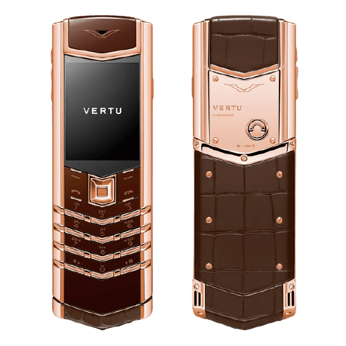 vertu signature s rose gold brown alligator