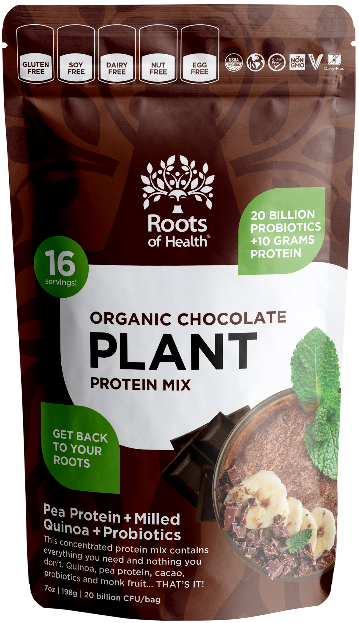 Organic Chocolate Plant Protein Mix (+Probiotics)