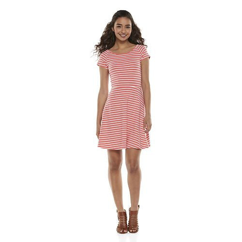 12422cdf81b7 SO® Cross Back Skater Dress - Juniors Red Stripe – Vicious Fashion