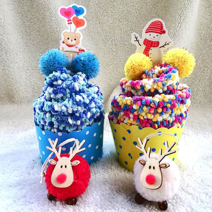 1 Pair Thick Cute Winter Fuzzy Slipper Socks With Cupcake Gift Box Cute & Colorful