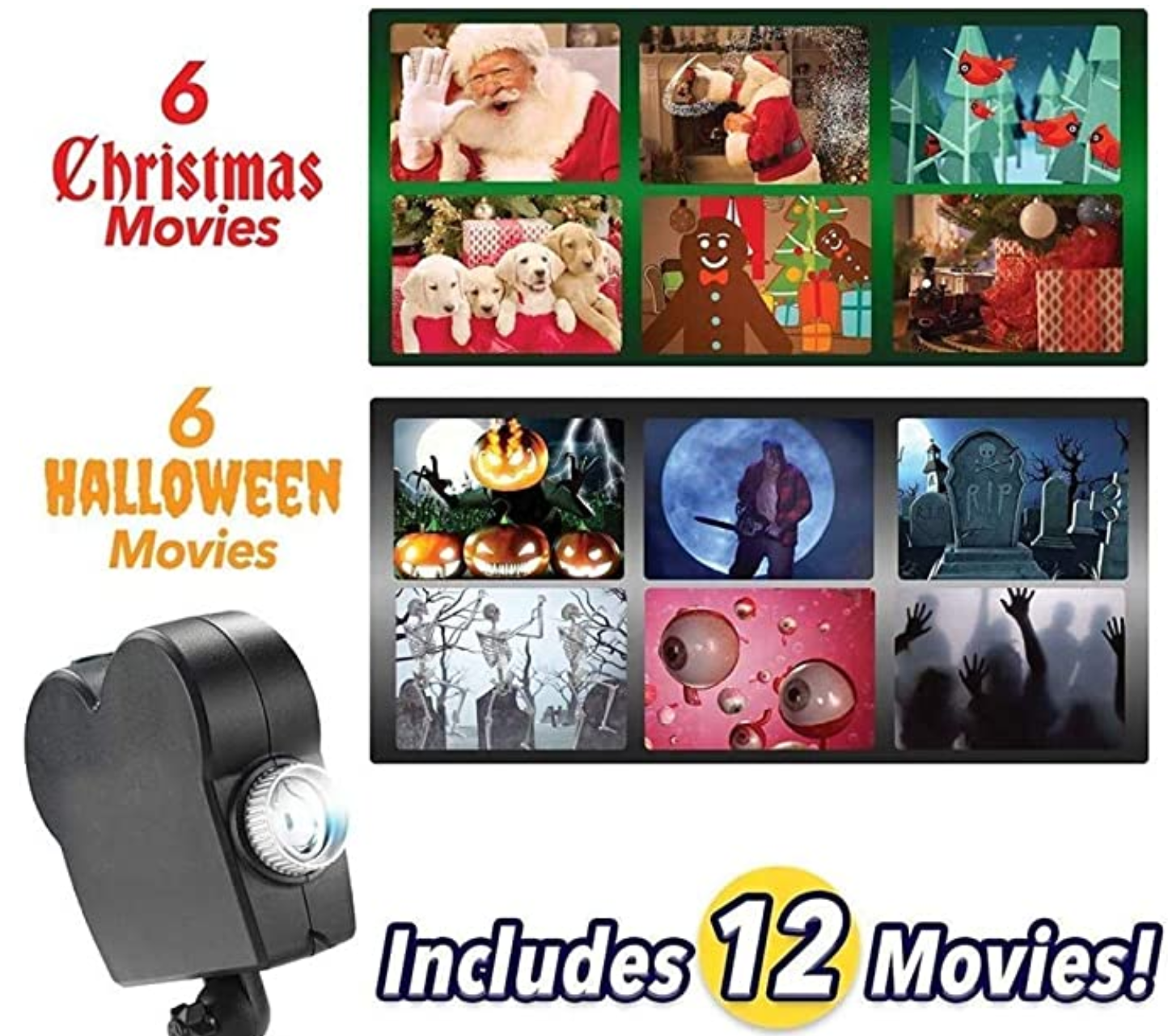 100 Inches Halloween & Christmas projection lamp With 12 Movies