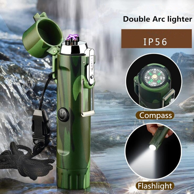 New Survival Recharge Double Arc lighter Waterproof Plasma & Windproof Electronic Compass and Flashlight USB