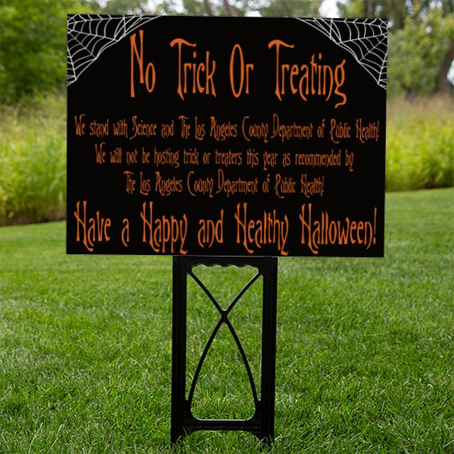 Black Los Angeles County No Trick or Treating Sign With Spider Webs
