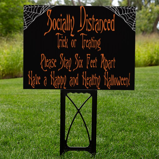 Black Socially Distanced Trick or Treating Sign With Spider Webs