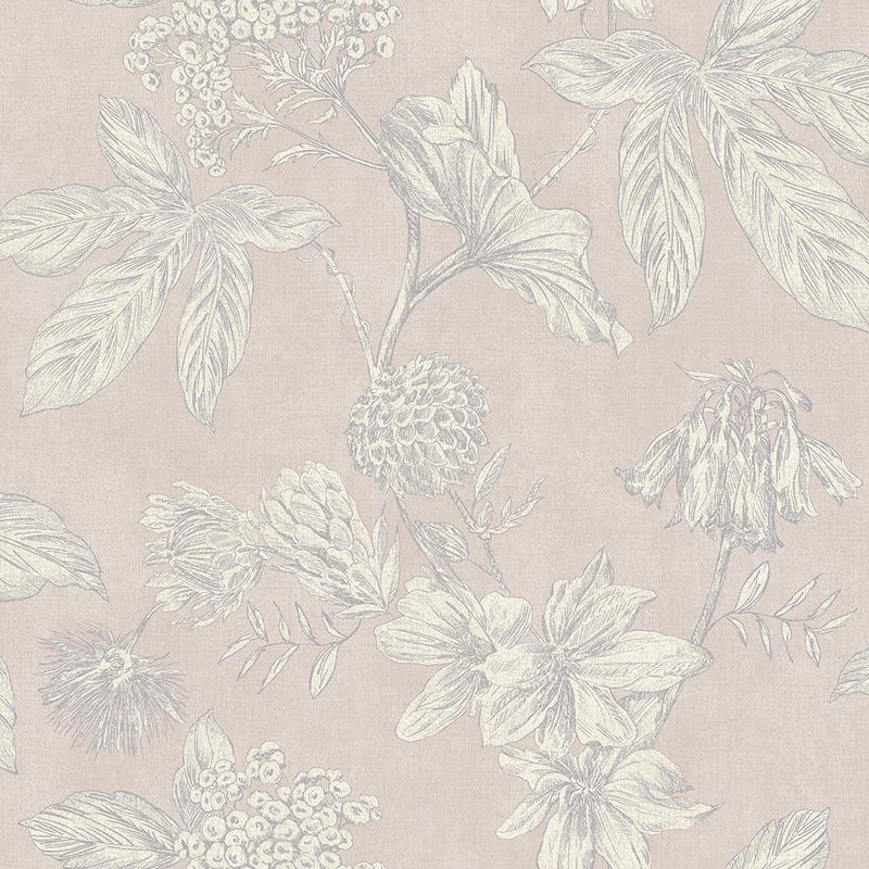 90200700a A vintage floral wallpaper, outlined with metallic grey highlights, with a subtle pink background. Paste the wall.