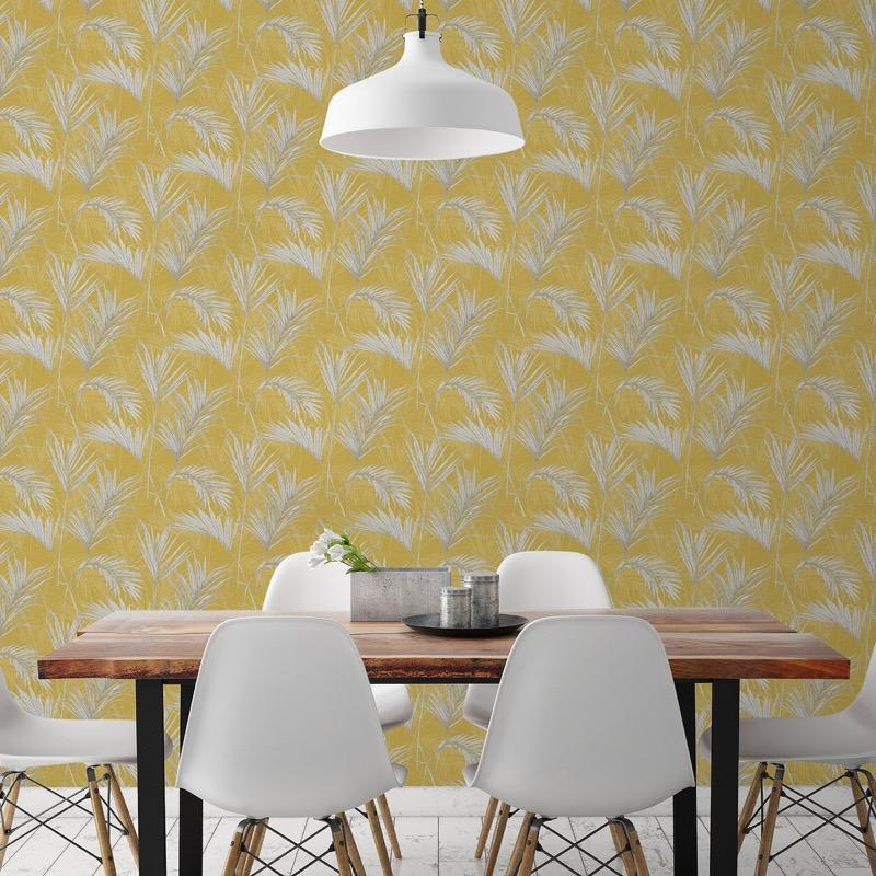 MY206601g 'Easy hang' paste the wall, matt vinyl with a beautiful palm leaf design in fashionable mustard.