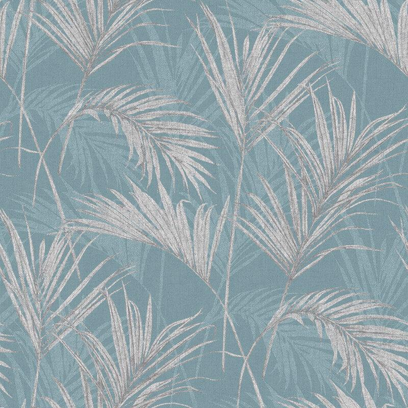MY207702g Easy hang' paste the wall, matt vinyl with a beautiful palm leaf design in fabulous blue.