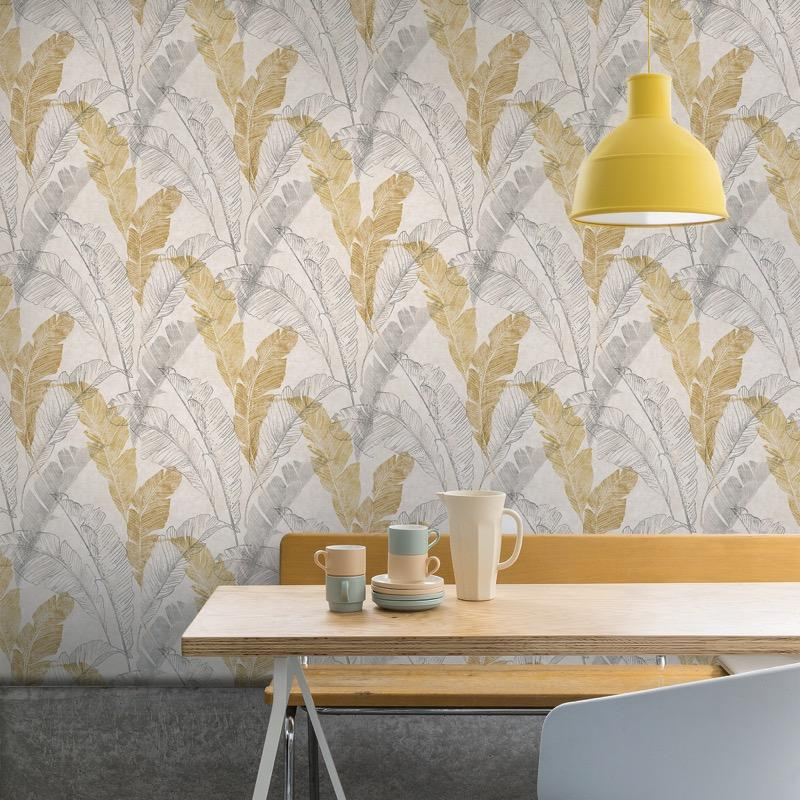 MY226602g Beautiful tropical leaf design on 'easy hang' paste the wall, matt vinyl.