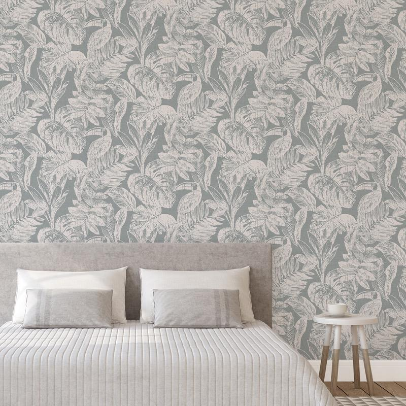 MY340003g Beautiful tropical paradise design with toucan birds on 'easy hang' paste the wall, matt vinyl.
