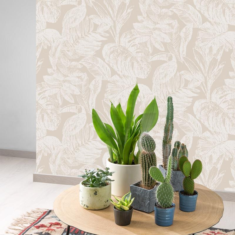 MY344401g Beautiful tropical paradise design with toucan birds on a stylish mustard, 'easy hang' paste the wall, matt vinyl in soft neutrals.