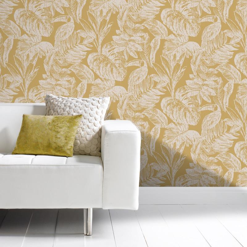 MY346602g Beautiful tropical paradise design with toucan birds on a stylish mustard, 'easy hang' paste the wall, matt vinyl.