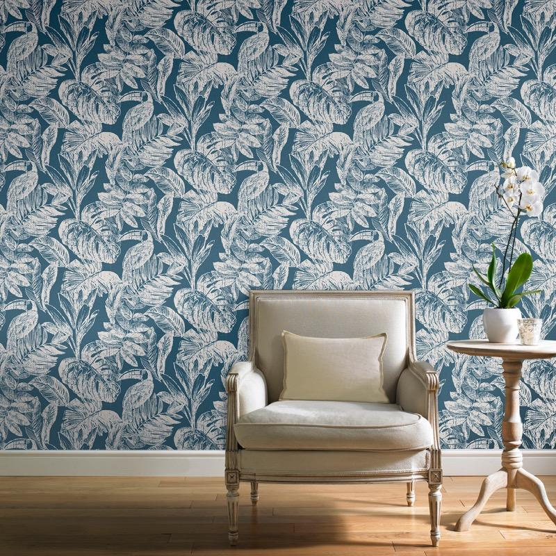 MY347704g Beautiful tropical paradise design with toucan birds on 'easy hang' paste the wall, matt vinyl.