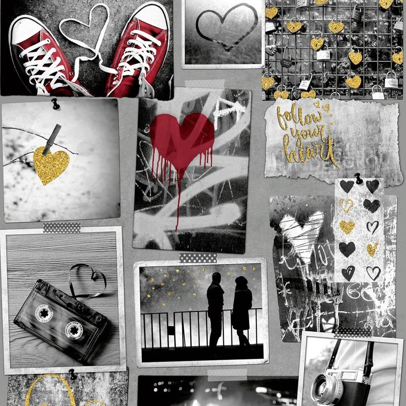 WA1066302m Trendy street scenes and graffiti wallpaper tastefully finished with glitter gel highlights. Totally teenager.