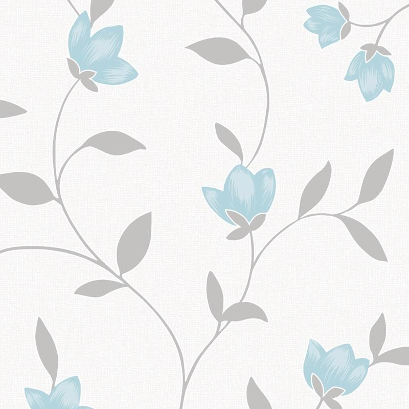 b14977102m Flowing trail floral design with blue and grey on a white backdrop. With metallic glitter highlights.