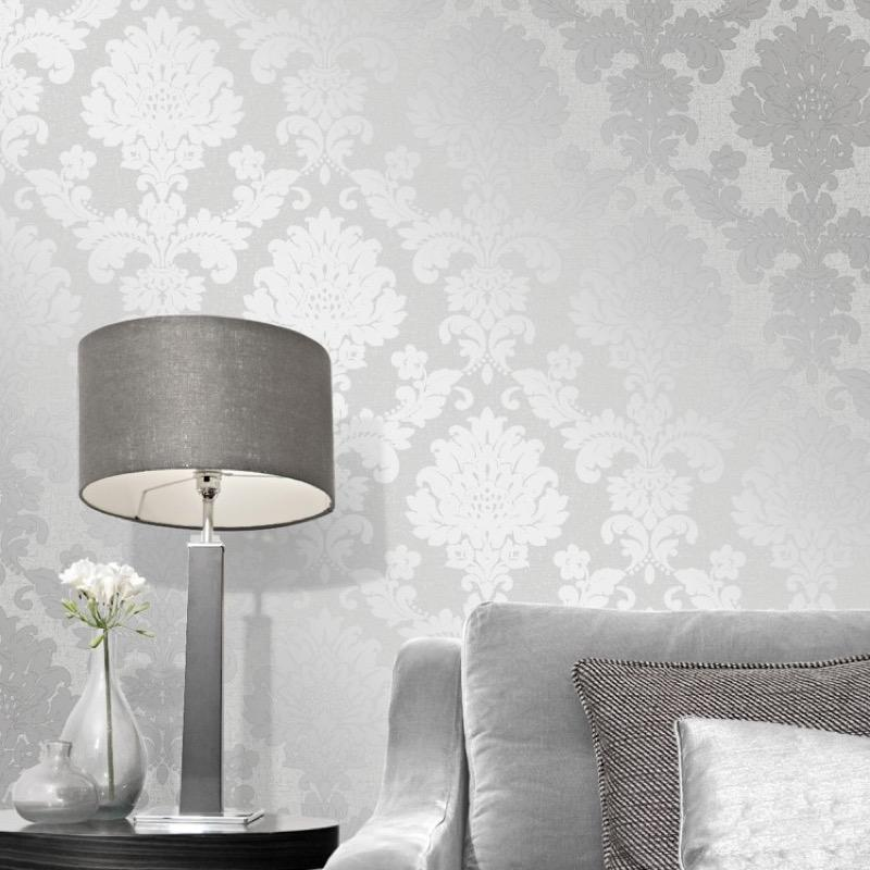 b4100965f Gorgeous glitter damask in silver on super heavyweight blown vinyl.