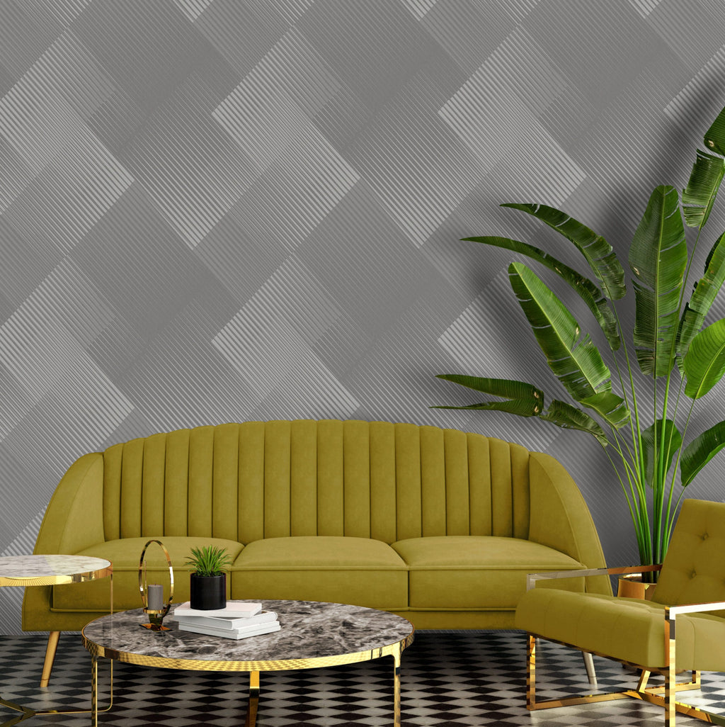 b570003b Modern geometric 3D effect wallpaper in grey with metallic silver highlights.