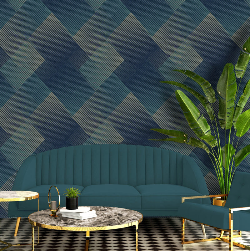 b577701b Modern geometric 3D effect wallpaper with navy, teal and metallic gold.