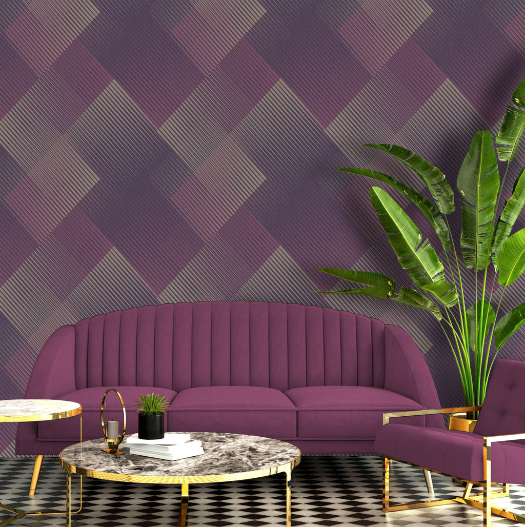 b578802b Modern geometric 3D effect wallpaper in gorgeous berry tones with metallic highlights.