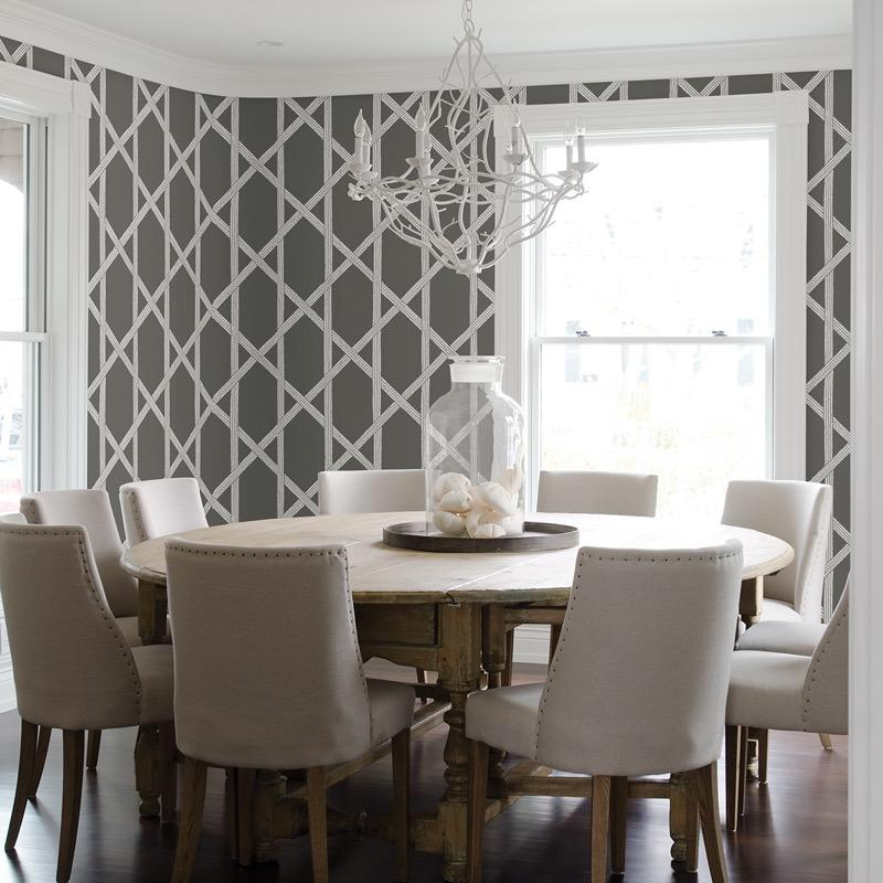 n2200421f Bold and dramatic feature, Black and while designer trellis effect wallpaper