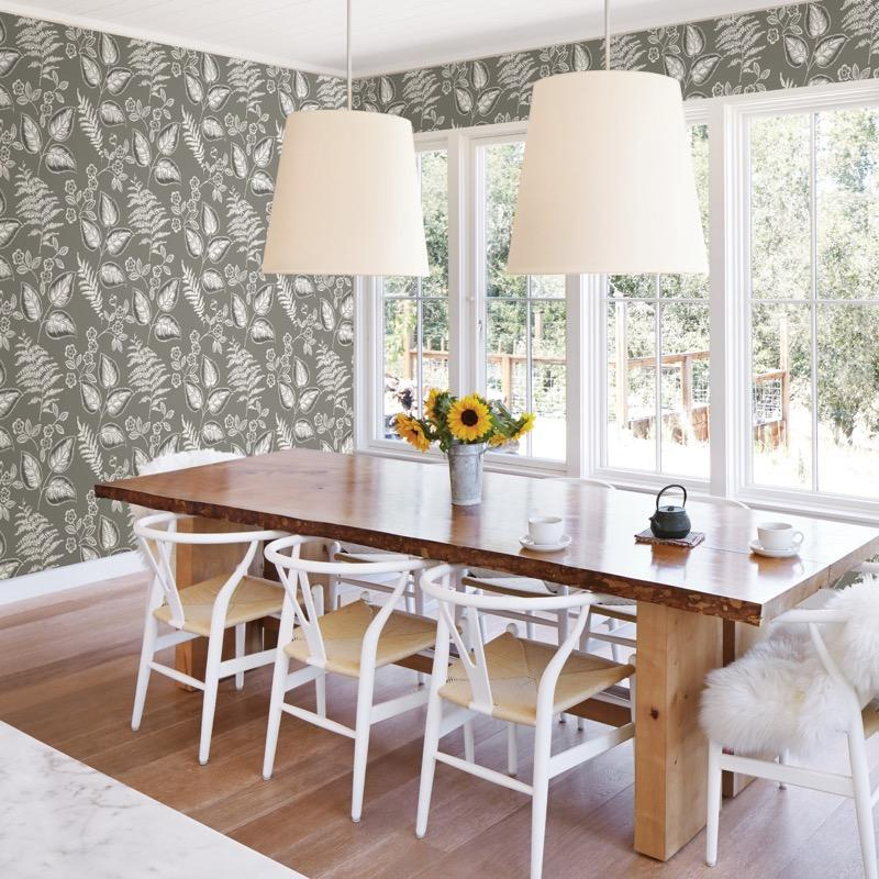 n2200711f vintage style leaves create a chic fusion style statement. on high grade 'paste the wall' wallpaper