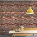 n2811901g Fabulous 'easy-hang', paste the wall, vinyl. '3D' brick effect in rustic red.
