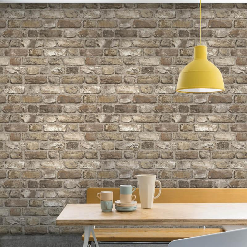 n2833904g Fabulous 'easy-hang', paste the wall, vinyl. Rustic '3D' brick effect.