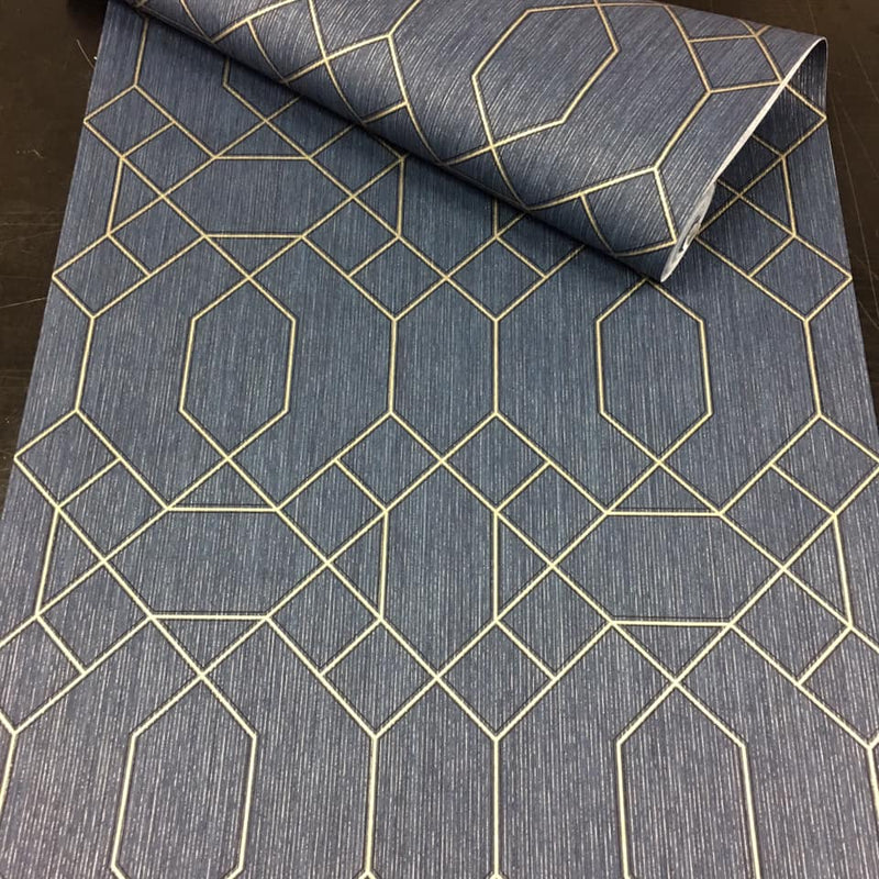 n327711g An elegant 'ribbon trellis' in navy blue with gold detail. Fabulous, non-woven, paste the wall product.