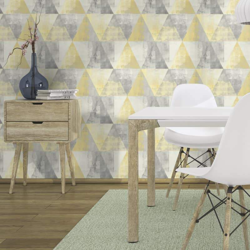 n41066921r Add a splash of designer colour. Funky geometric design for a modern feature wall. 'Easy hang', paste the wall, matt finish washable vinyl.